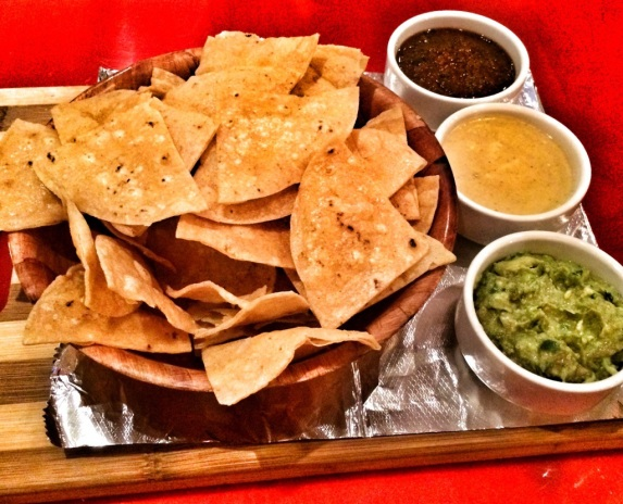 Chips, Salsa, Guac and Queso