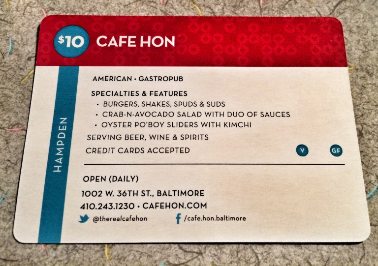 Cafe Hon City Dining Card