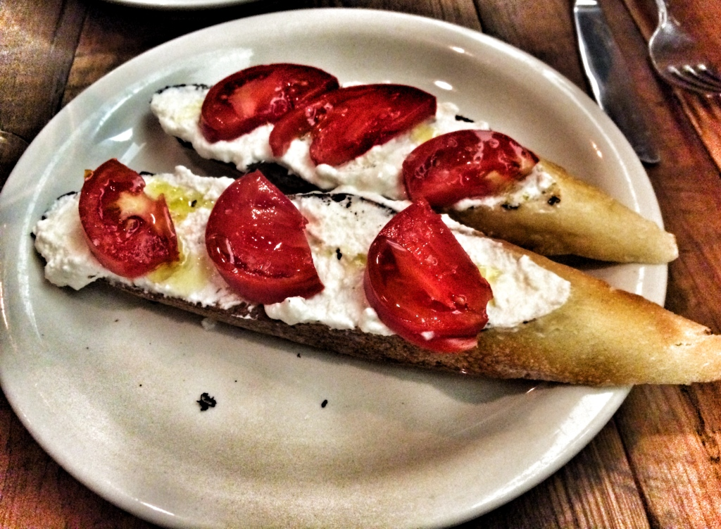 Tomatoes and Salted Ricotta Crostini