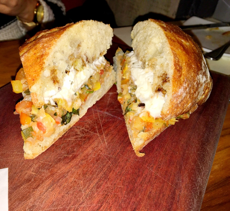Ratatouille and Burrata Cheese Sandwich