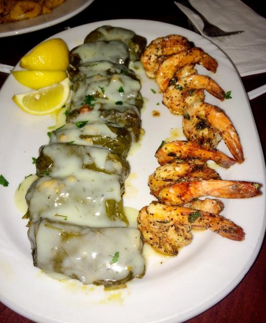 Garlic Shrimp and Dolmades